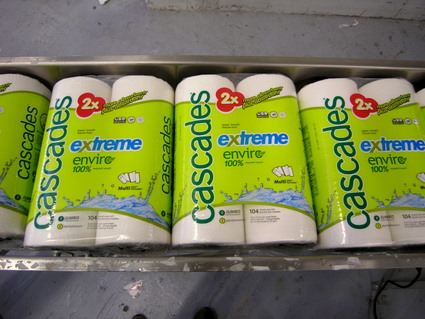 Presto - recycled paper towels, ready to be shipped