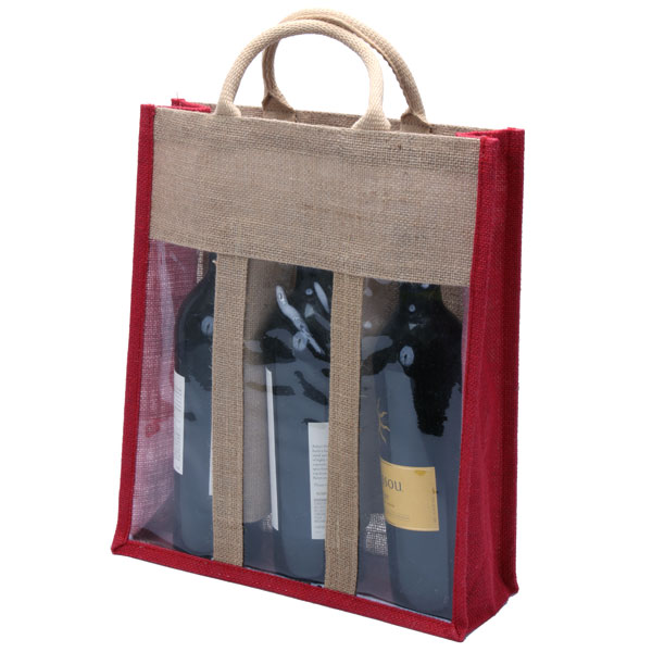 3 Bottle Natural Eco-friendly Jute Wine Bag