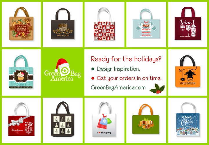 Eco-friendly reusable green bags: holiday inspiration.