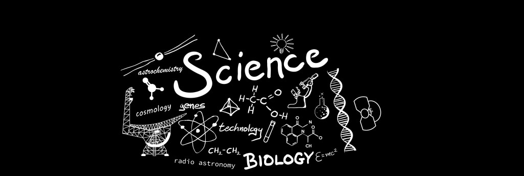 doodle of science-related text and images
