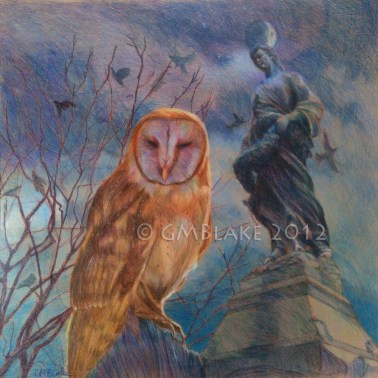 Owl and Stone Goddess
