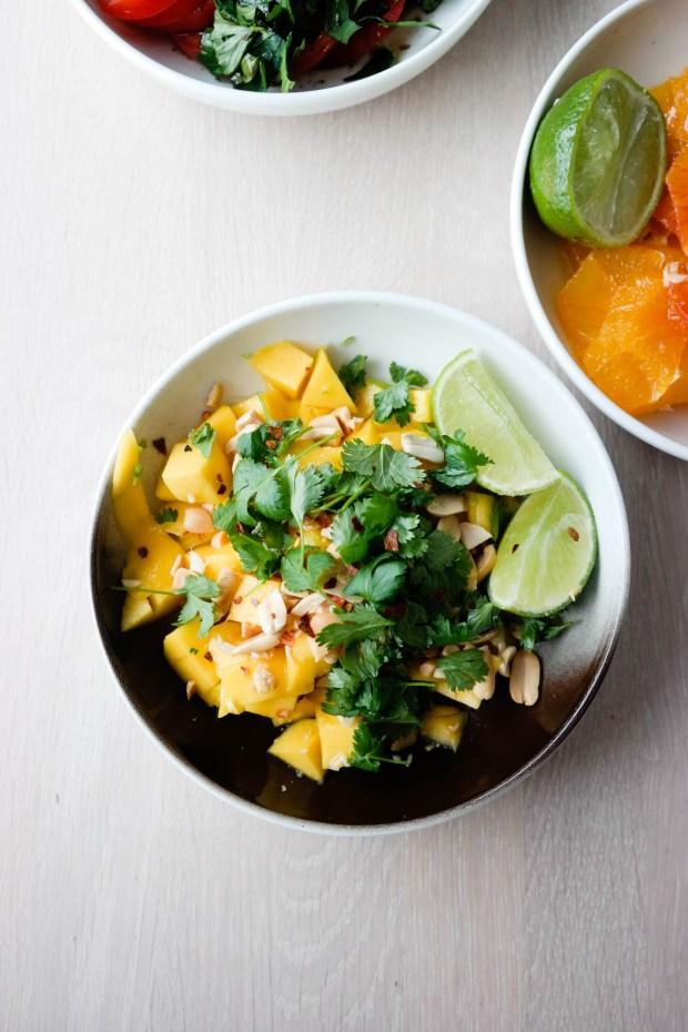 Mango, lime, koriander, peanøtter