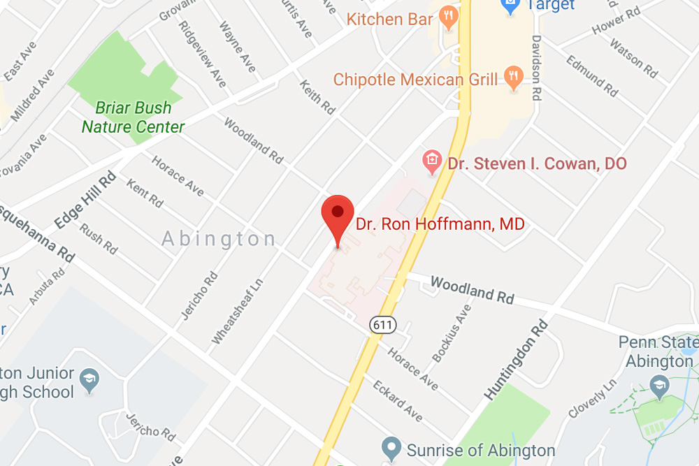 Dr. Ron Hoffmann, MD Google map indicator in Abington, PA