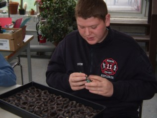 Kevin uses a seed dispenser to seed a tray of mache.