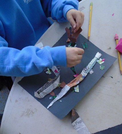 Working hard on a collage!