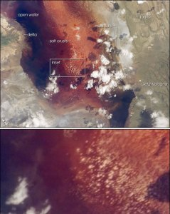 Satellite imagery of Lake Natron with features labelled
