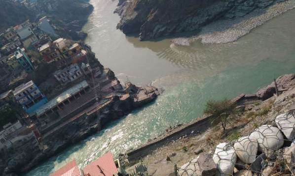 Confluence of River Bhagirathi and Alaknanda at Devprayag