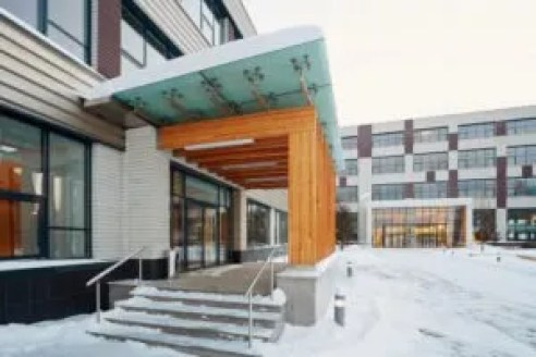 snowy covered office enterance