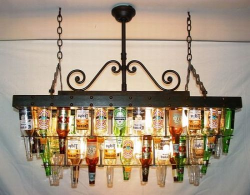 10 eco friendly chandeliers for green ambience green diary green a two tier recycled beer bottle chandelier mozeypictures Image collections
