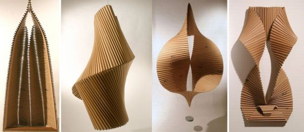 Abstract and feminine cardboard sculpture