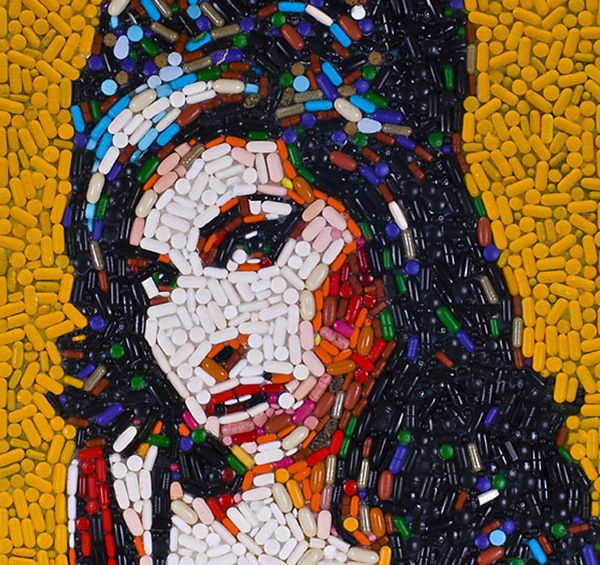 Amy Winehouse portrait made of pills