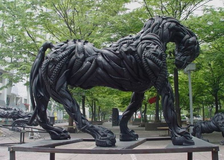 Animal Sculptures Made of Recycled Tire