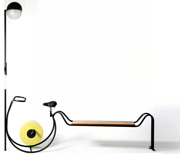 Bench with a built-in Pedal-Powered Streetlight