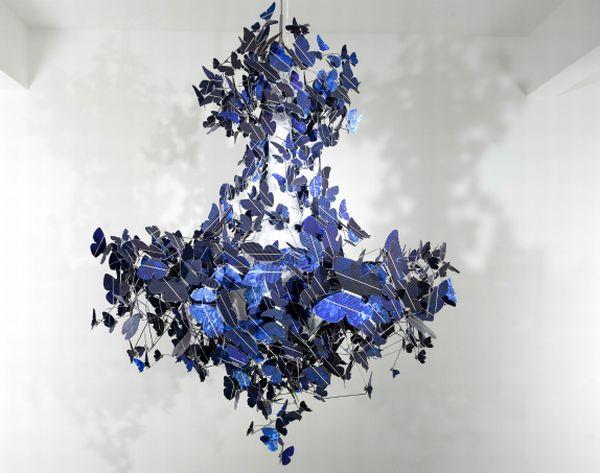 chandelier made from 500 fluttering solar butterfl