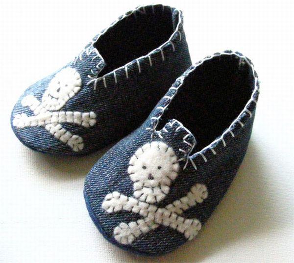Denim Skull Baby Shoes