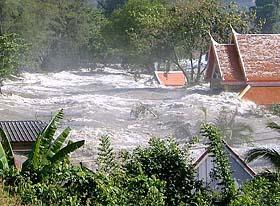 destruction by tsunami waves