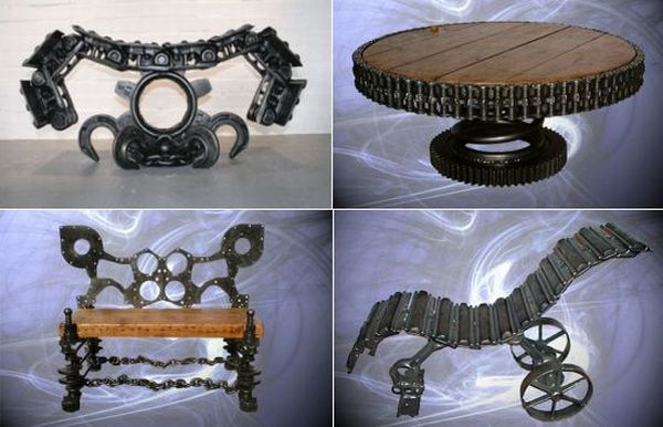 furniture using discarded machinery