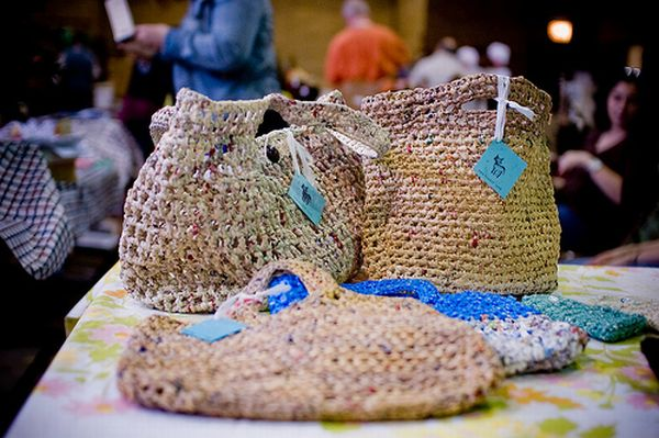 Handbags made out of plastic grocery bags