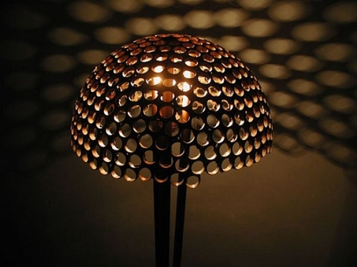 Honeycomb-inspired lamp made from recycled copper rings