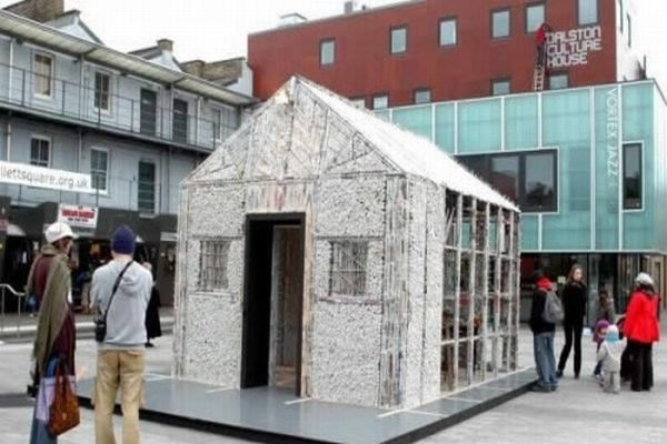 House made of newspaper