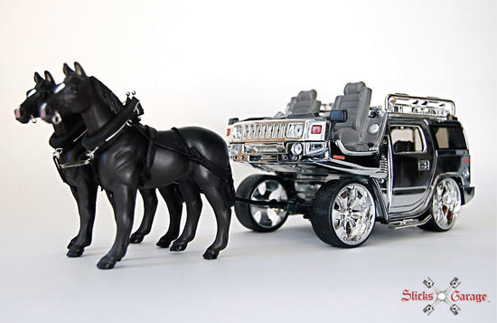 hummer h2 transformed into horse cart 3