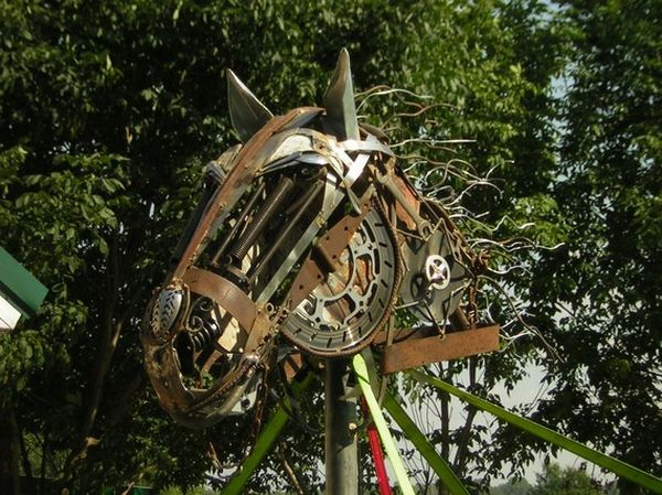 lifesize scrap metal draft horse sculpture 5