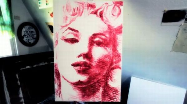 Lip print painting