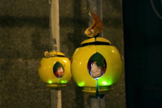 luzinterruptus urban nest light art installation 6