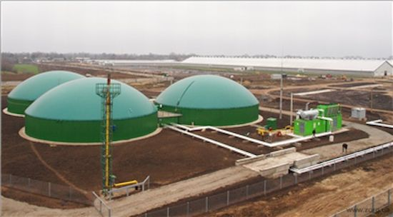 manure powered biogas facility