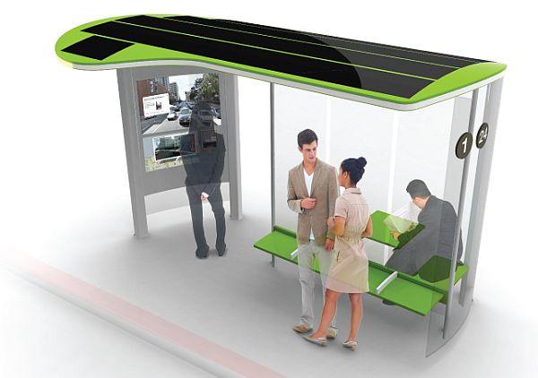 Multi-functional solar bus stop