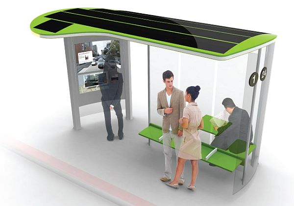 Multi-functional solar bus stop