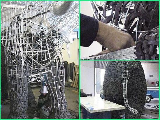 nomkhubulwane elephant made from recycled tires 1