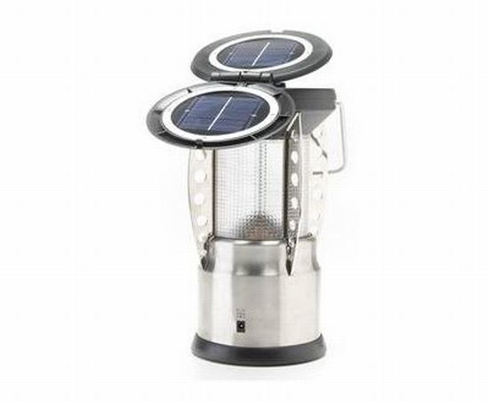 oasis solar rechargeable stainless steel led lante