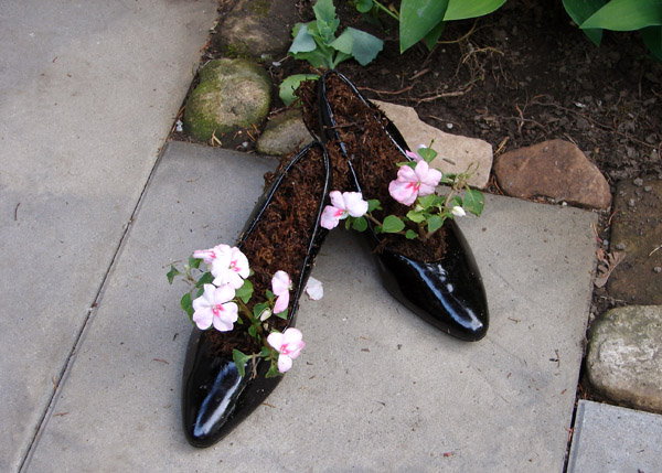 garden design made of recycled materials. You Can Use Your Old Shoes To Make A Garden Planter So Do Not Throw Them Out All Need Is Line The Insides With Plastic Design Made Of Recycled Materials E