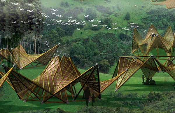 Origami-Inspired Folding Bamboo House