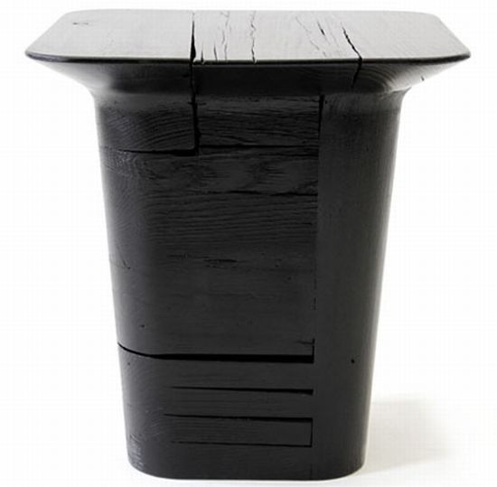 pitch black stool and table 2