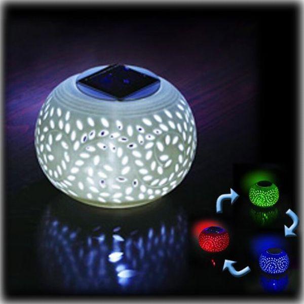 Porcelain Solar Patio Table Lamp