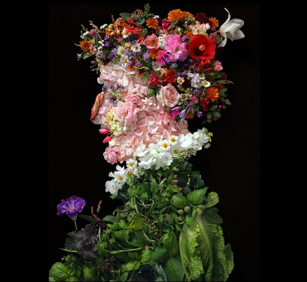 Portraits made of fruits, flowers and vegetables