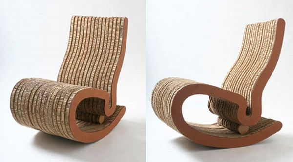 recovered cardboard chairs and tables by ana mitra