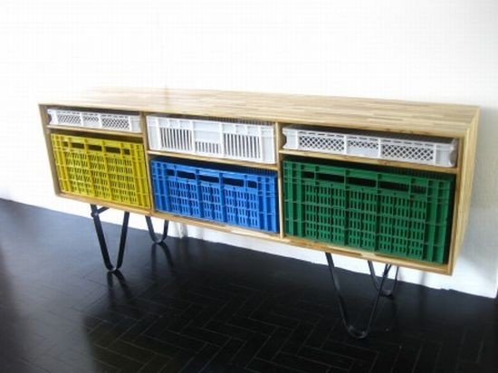 recycled shipping plastic crate furniture 1
