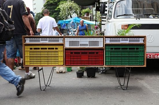 recycled shipping plastic crate furniture