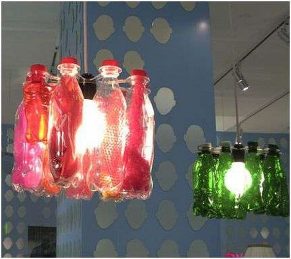 Recycled Bottle Chandeliers