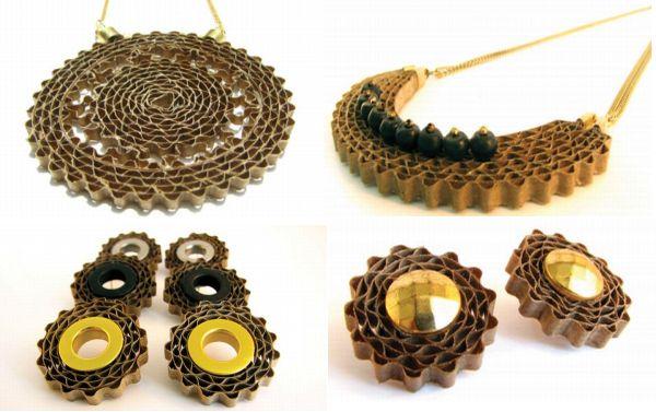Recycled cardboard jewelry