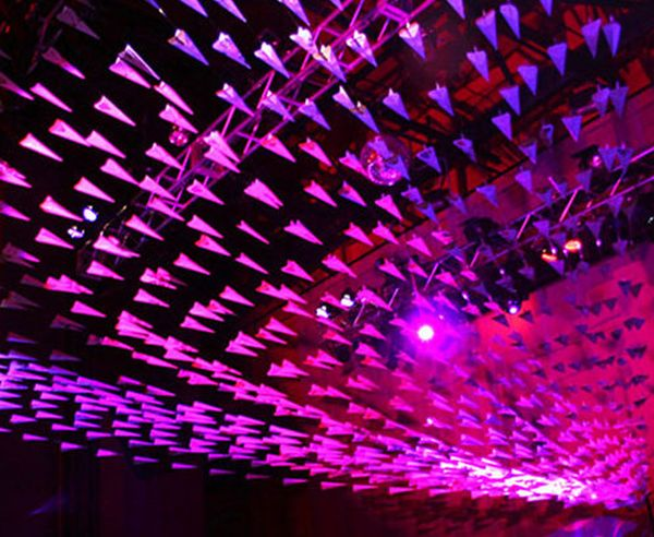 Recycled paper airplane party installation