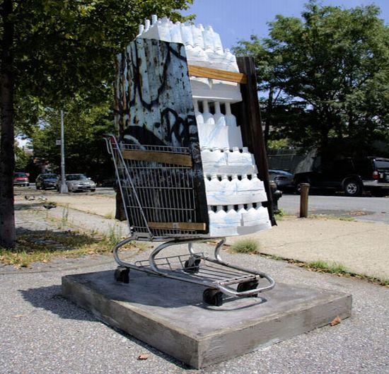 shopping cart sculptures 2