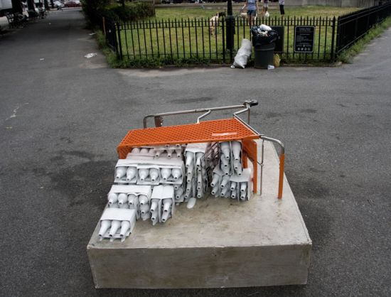 shopping cart sculptures