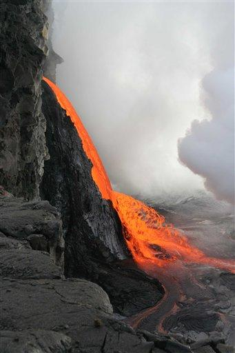 stream of lava from newly exposed cliff side