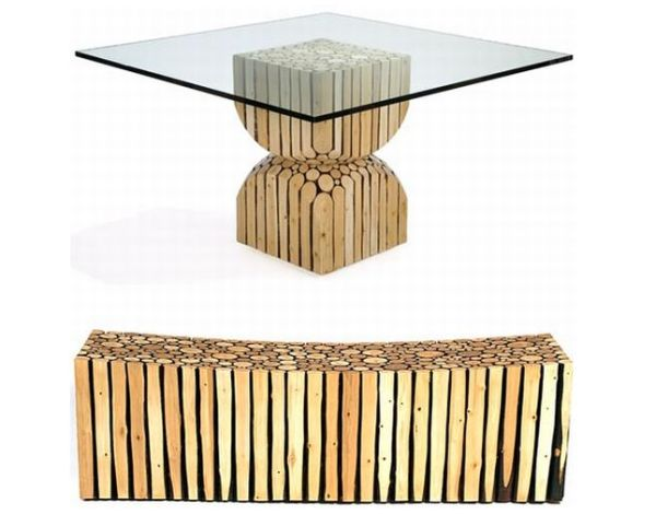 Tables from logs of wood