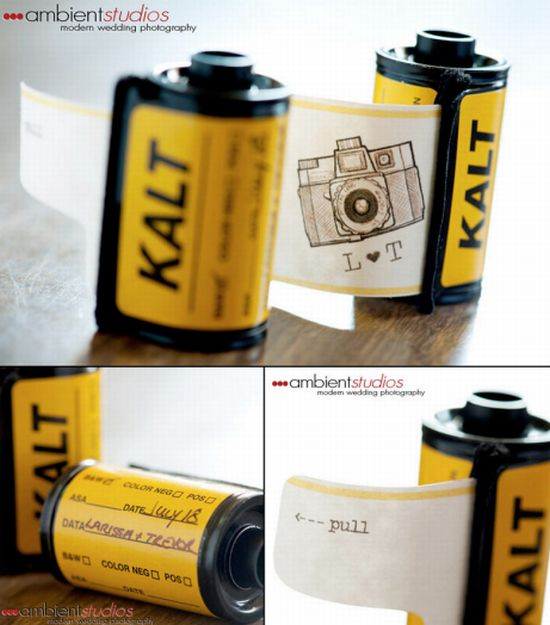 wedding invites made from repurposed film canister