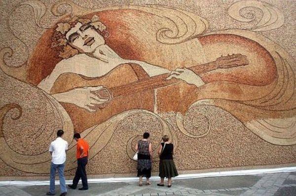 wine cork art by Albanian Saimir Strati
